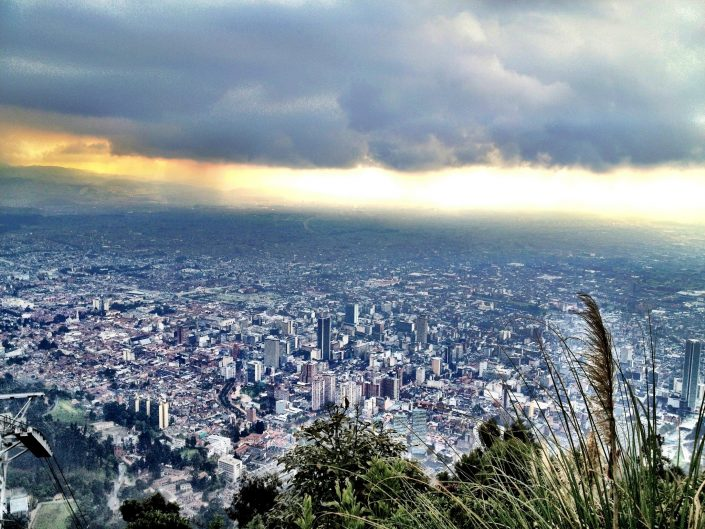 The view over Bogota, Colombia from the top of the Monserrate