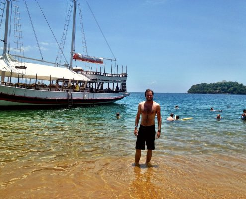 Simon on a remote island - boat cruise, Paraty, Brazil