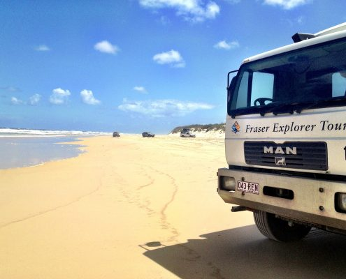 Exploring Fraser Island is a 4x4 truck, Australia - Adventure Bagging