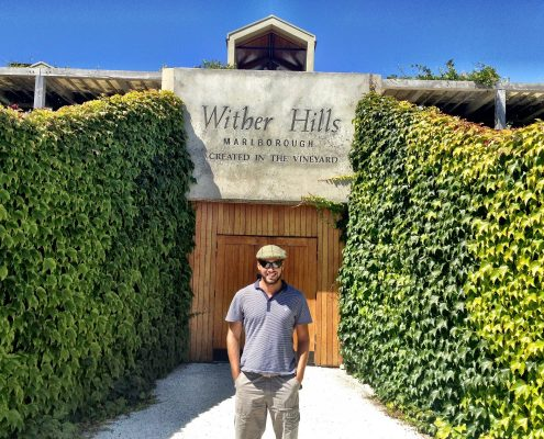 Simon Heyes, wine tasting at Wither Hills, Marlborough, New Zealand