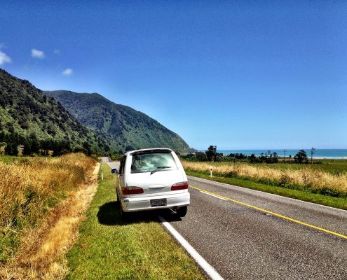 Camper van view - West Coast, New Zealand