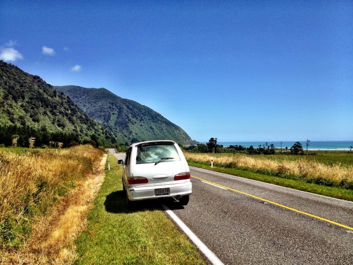 Camper van view - West Coast, New Zealand