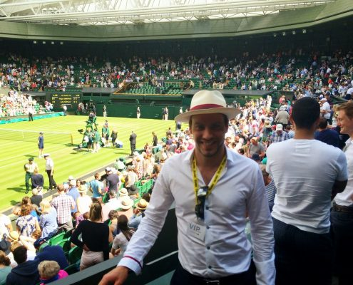 Simon on Centre Court at Wimbledon