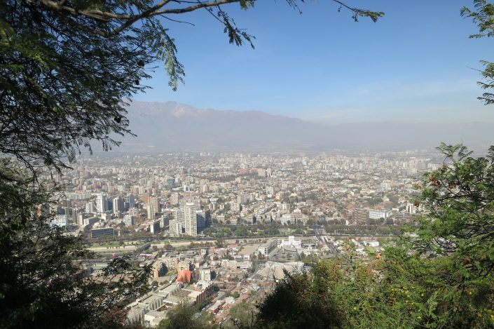 View over Santiago from Cerro san Cristobal