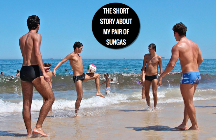 Men wearing a pair of sunga on Ipanema Beach, Brazil