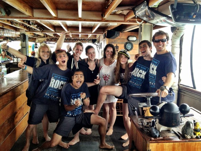 The Rock crew - New Zealand's largest houseboat