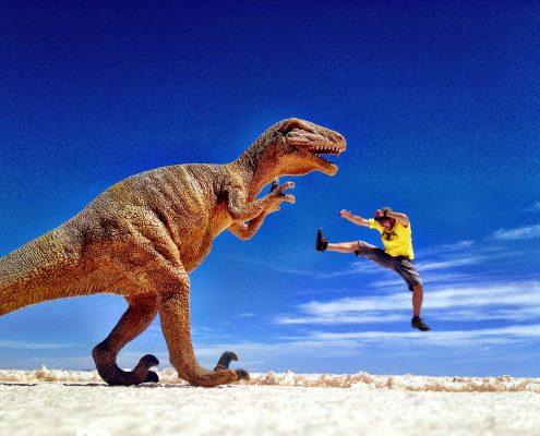 Simon Heyes with dinosaur - Salar de Uyuni, Bolivia
