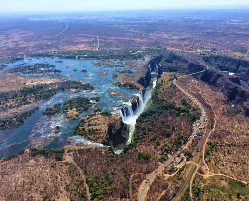 The view of Victoria Falls, Zimbabwe, from a helicopter