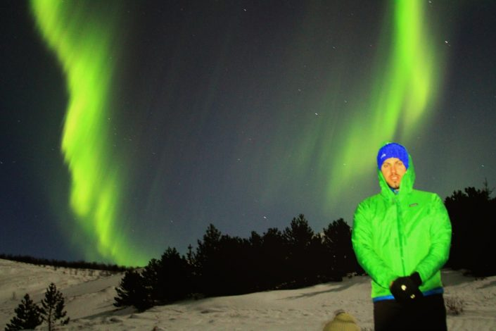 Simon Heyes and the Northern Lights outside Reykjavik, Iceland
