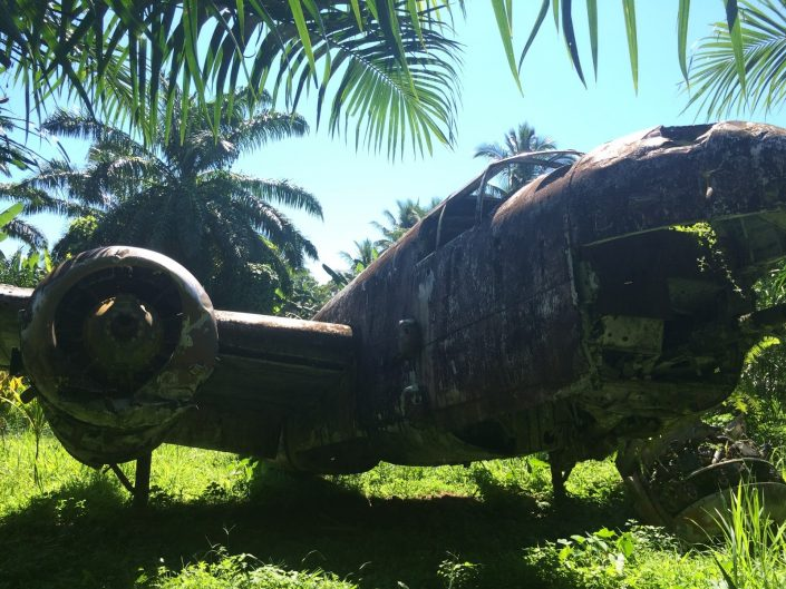 A B25 bomber in its final resting place on the Talasea airstrip, New Britain, Papua New Guinea