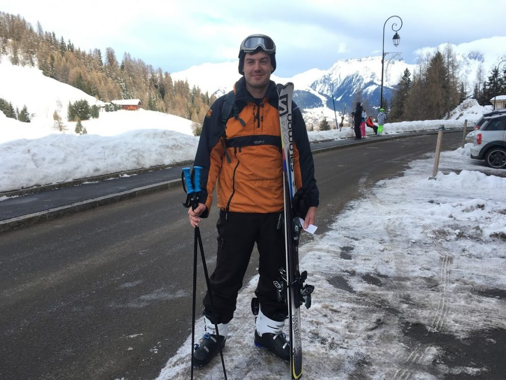 Chris Heyes - first day skiing - Plagne 1800