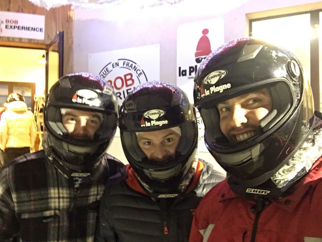Bobsleigh helmets on - La Plagne