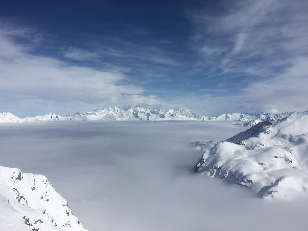 An inversion at Roche de Mio, La Plagne