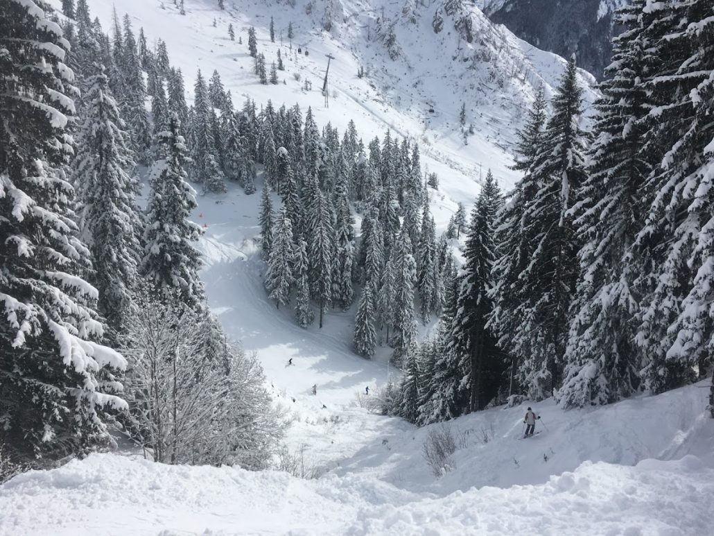Champagny red piste, off piste in La Plagne