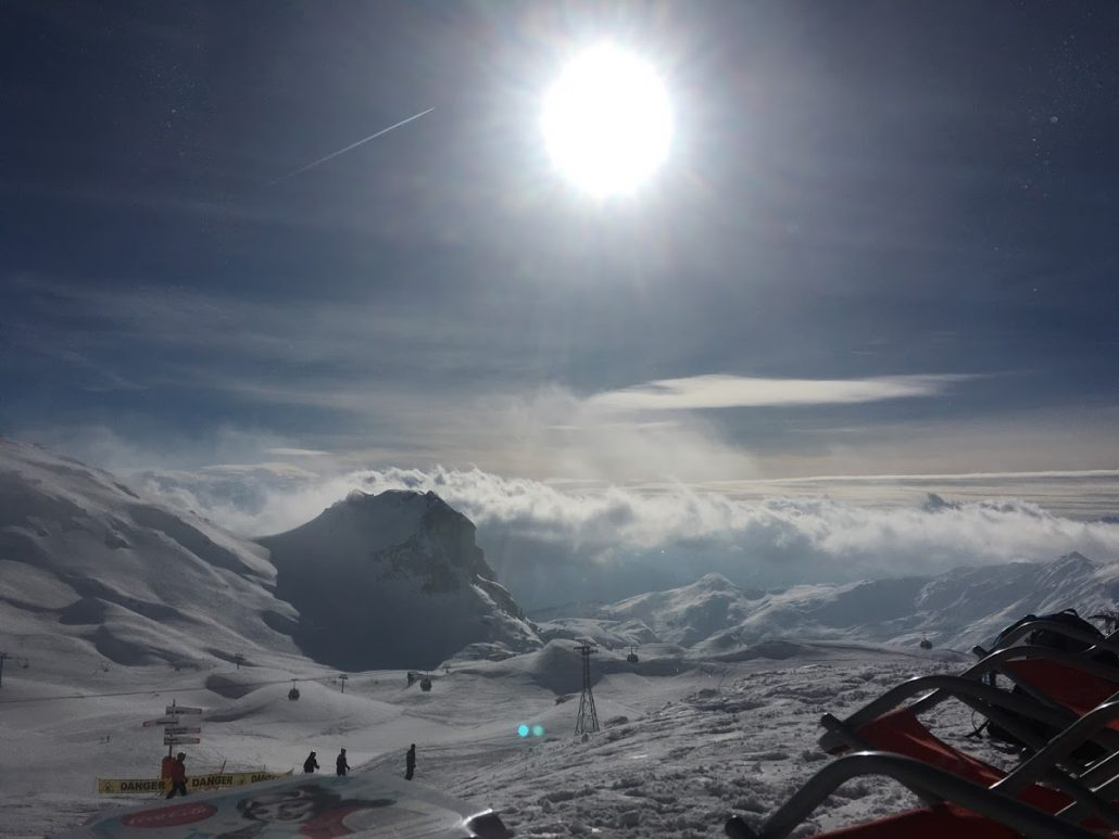 Sun in the afternoon in La Plagne
