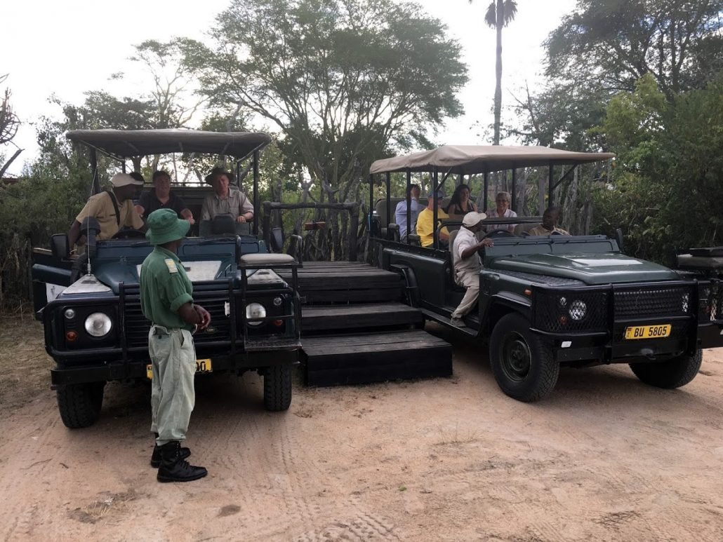 Safari vehicles at Mvuu Lodge, Malawi