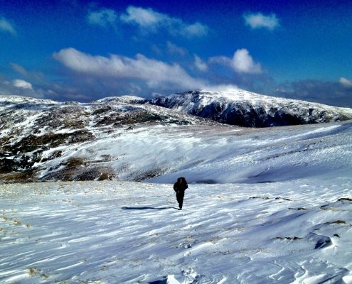 Hiking in the Lake District in the snow