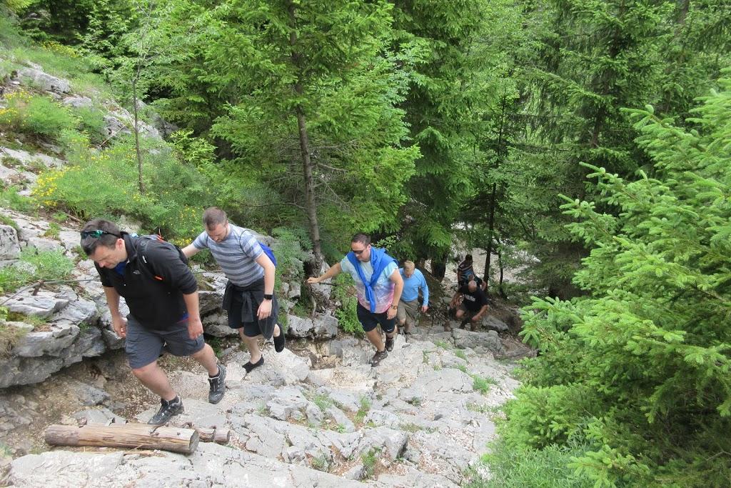 Hiking up steps towards the Soca River source - Triglav National Park, Slovenia