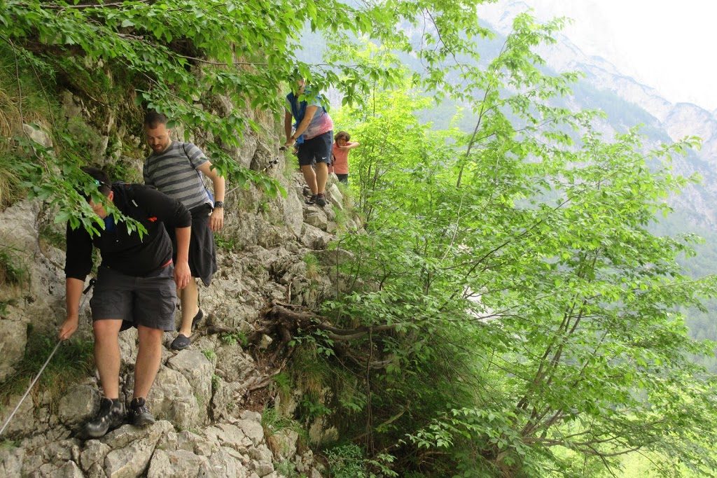 The rocky path towards the Soca River source - Triglav National Park, Slovenia