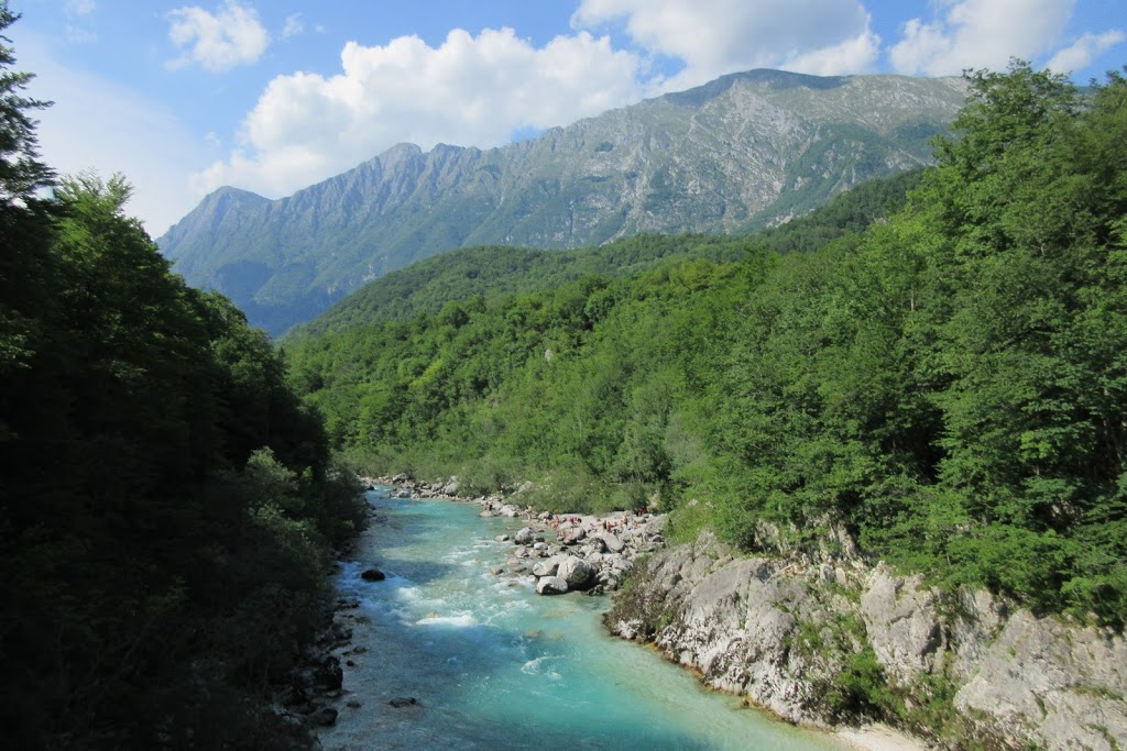 The stunning view over the Soca River - Kozjak waterfall hike, Slovenia