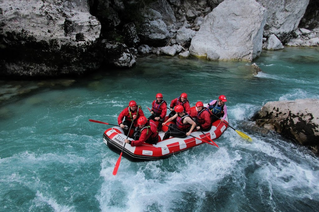 Heading backwards whilst rafting down the Emerald River - Triglav National Park, Slovenia