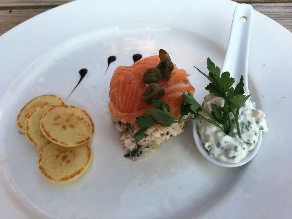 fresh white crab with home smoked salmon, chive cream & blinis - Bricklayers Arms