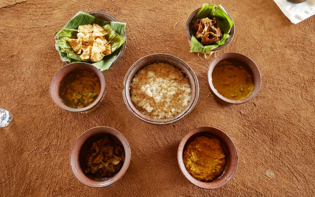 Traditional Sri Lankan lunch dishes, freshly cooked