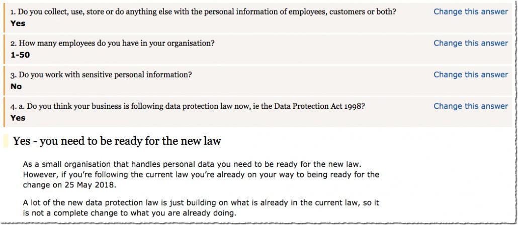 ICO self assessment form for GDPR