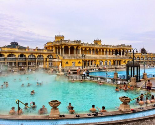 The Szechenyi thermal spa baths in Budapest, Hungary