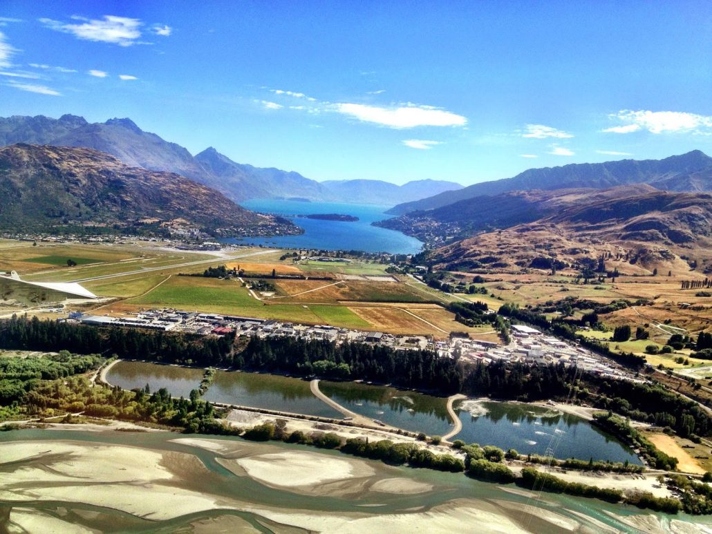 The stunning view on approach to Queenstown airport, New Zealand