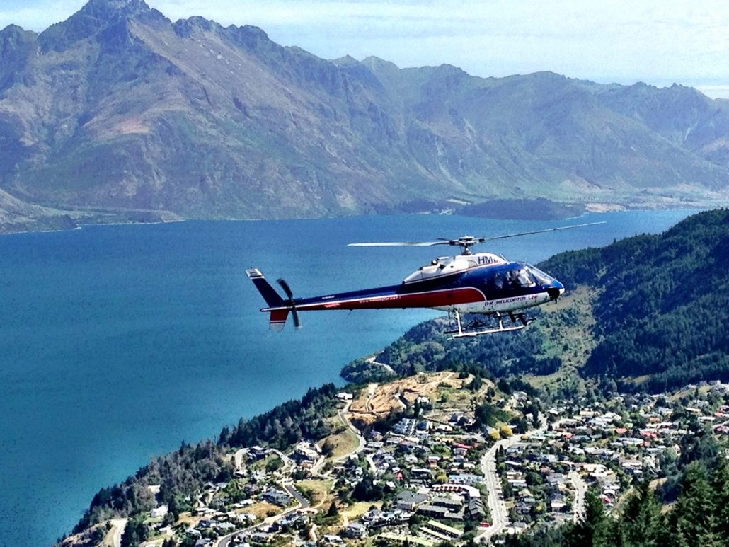 A helicopter ride over Lake Wakatipu