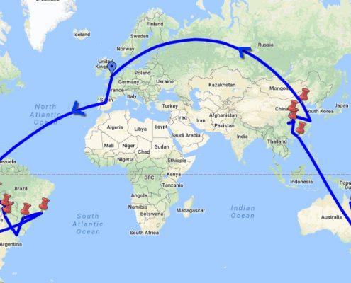 Round the world flight route - Simon Heyes, Adventure Bagging