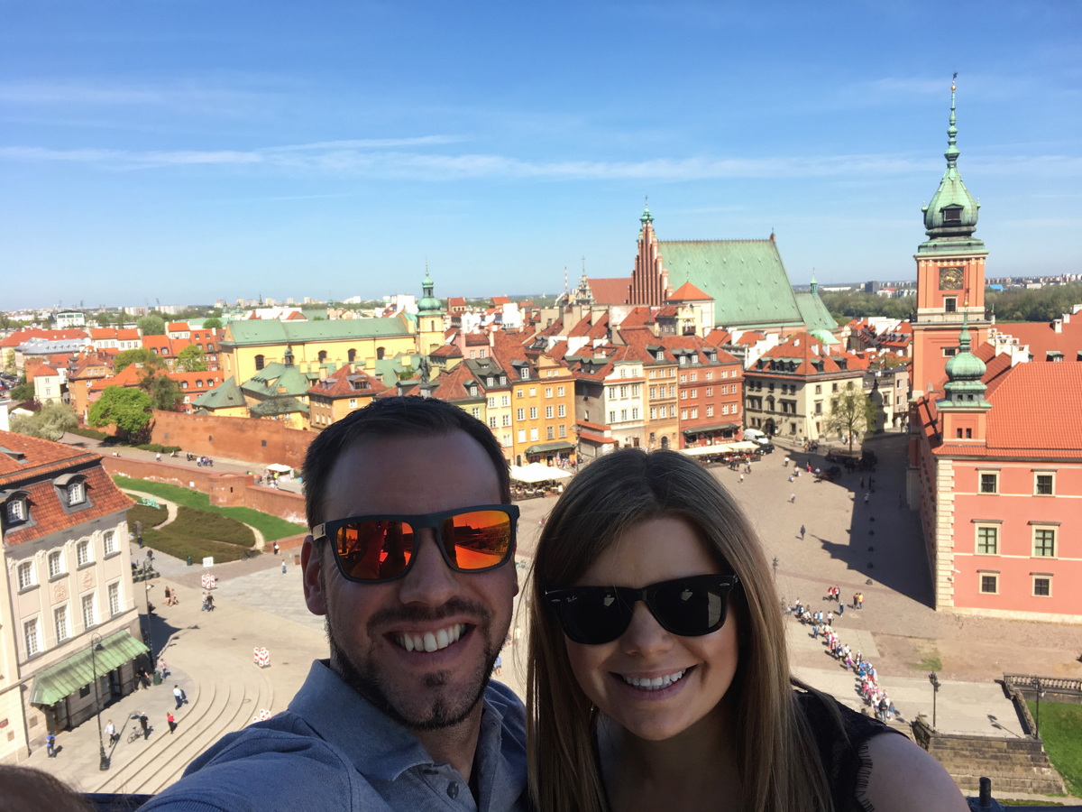 Claire and Simon on the Castle Square observation terrace - Warsaw, Poland