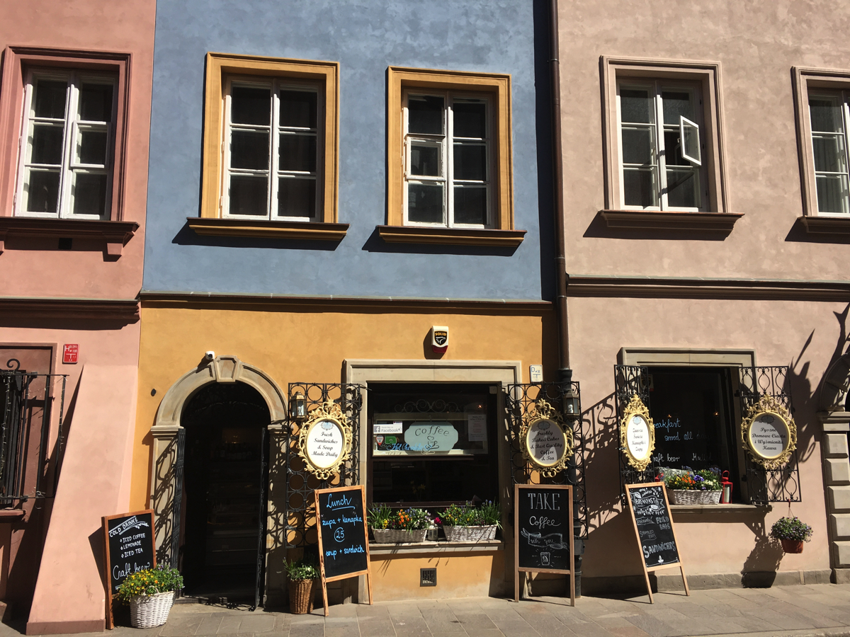 Some of the colourful buildings in Warsaw old town, Poland