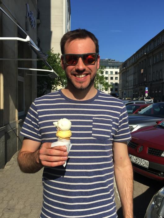 Simon enjoying his ice cream in Warsaw