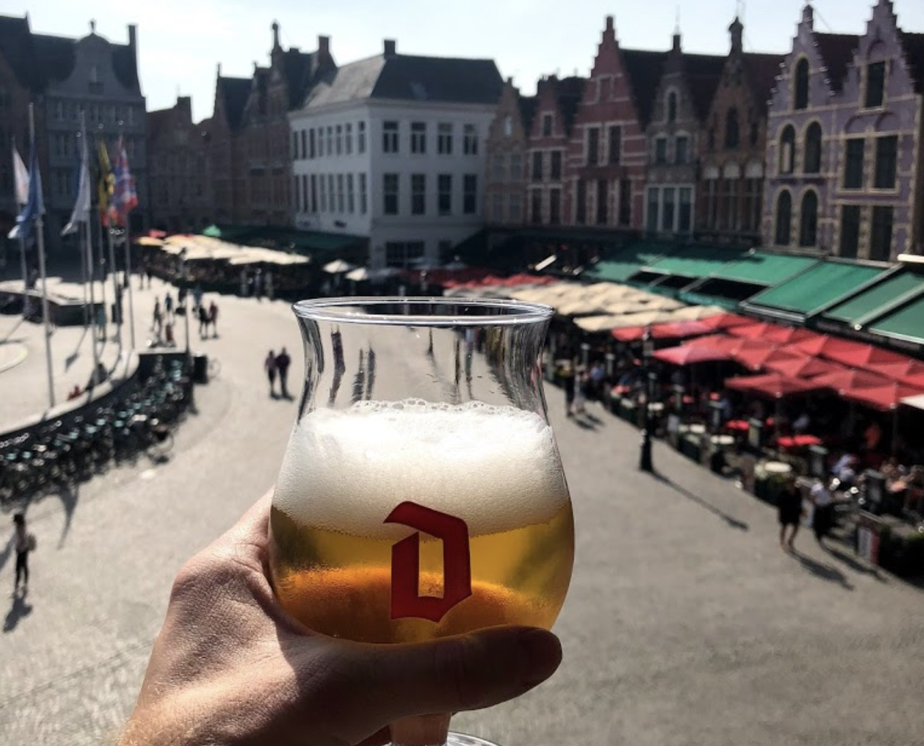 Duvelorium beer bar, overlooking the market square, Bruges