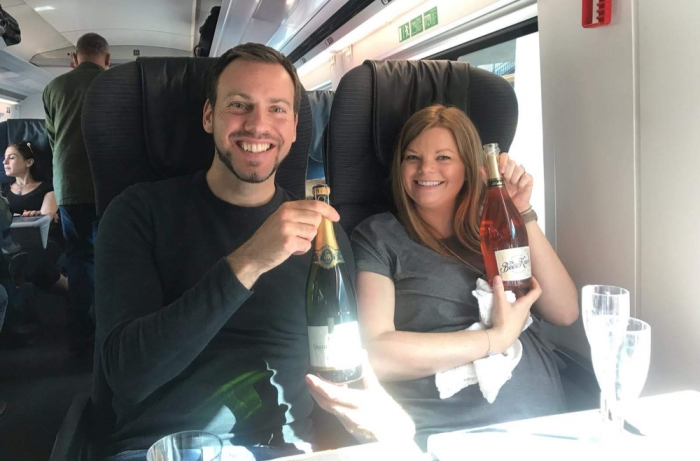 Drinking fizz on the Eurostar to Bruges