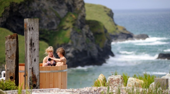 A cliff top hot ub at the Scarlet Hotel, Cornwall