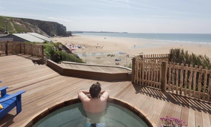 Watergate Bay Hotel - hot tub overlooking the beach - Cornwall