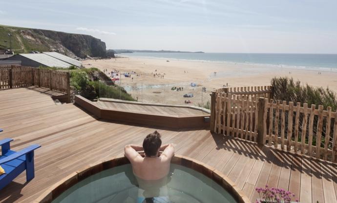Watergate Bay Hotel - hot tub overlooking the beach - Cornwall