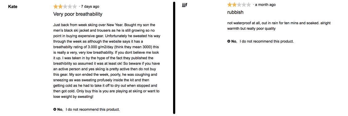 ALDI ski jacket reviews