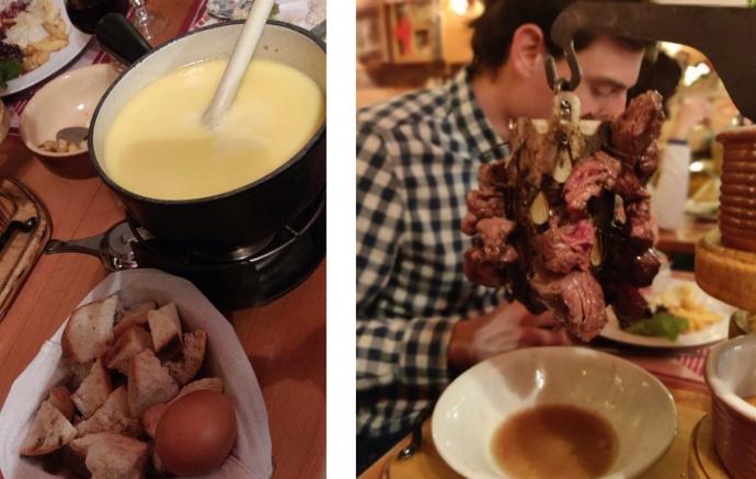 Cheese fondue & Potence de Boeuf - Restaurant L'Edelweiss - Alpe d'Huez