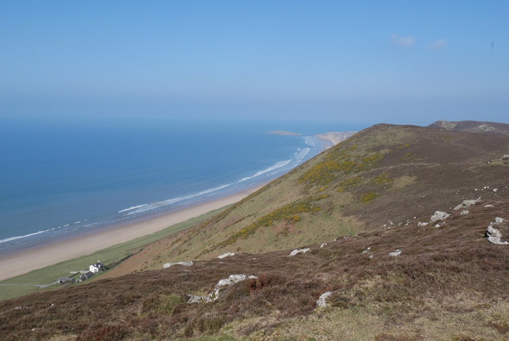 View of Rhossili Beach from Rhossili Down, Gower