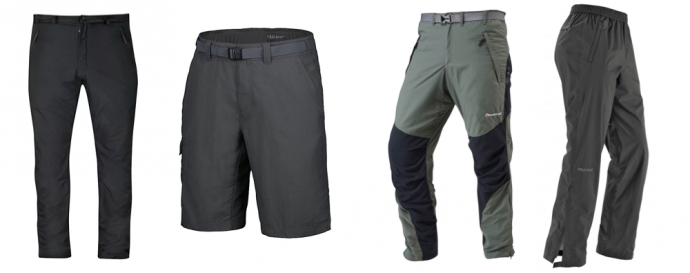 Walking Trousers, Shorts and Waterproof Over-trousers - Packing List