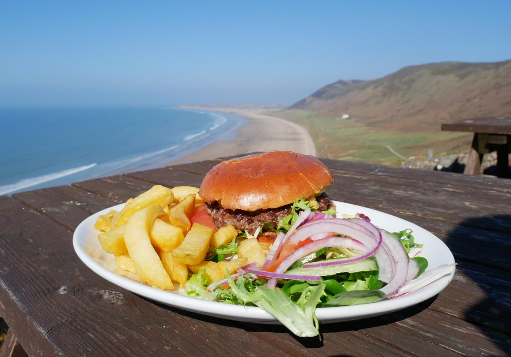 Burger & chips at the Worms Head Hotel, Rhossili