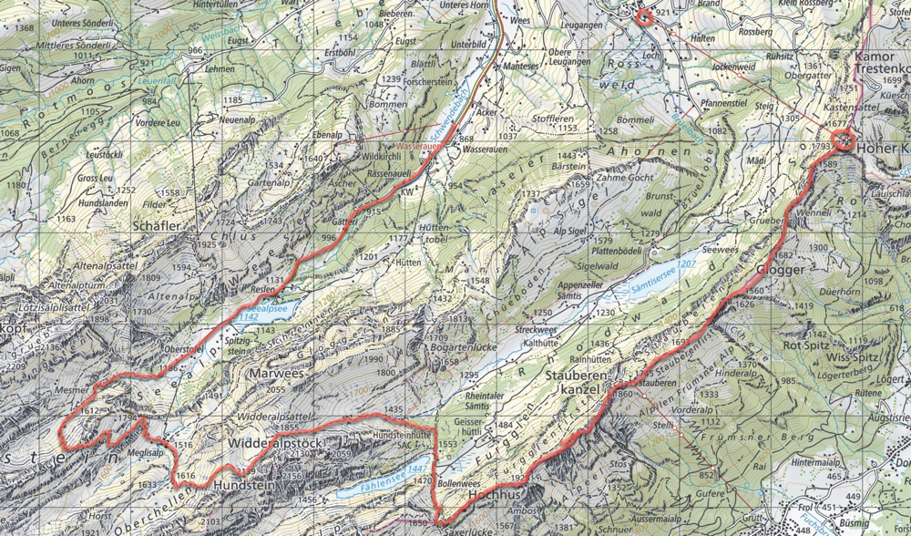 Swiss Alps Hiking Map - Bollenwees, Seealpsee
