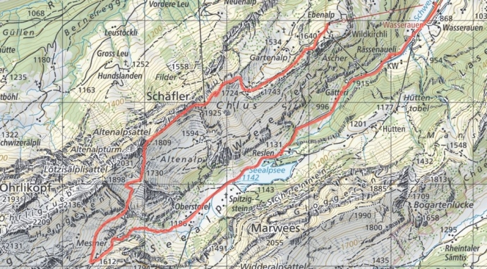 Swiss Alps Hiking Map - Seealpsee & Mesmer