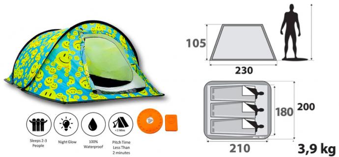 Gorilla Tent - Emoji Smiley - Garden Camping