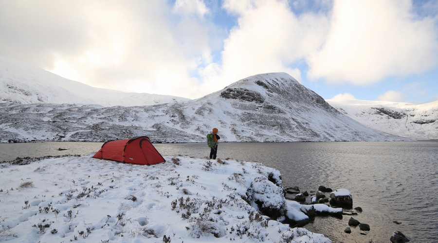 A Winter wild camp at Loch Skeen, Galloway, Scotland