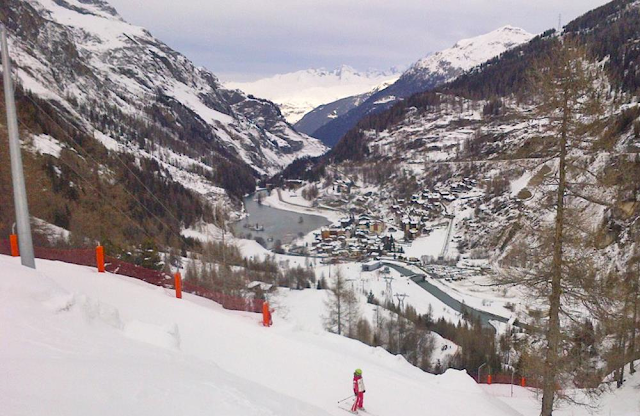 The view down to Tignes Le Brevieres